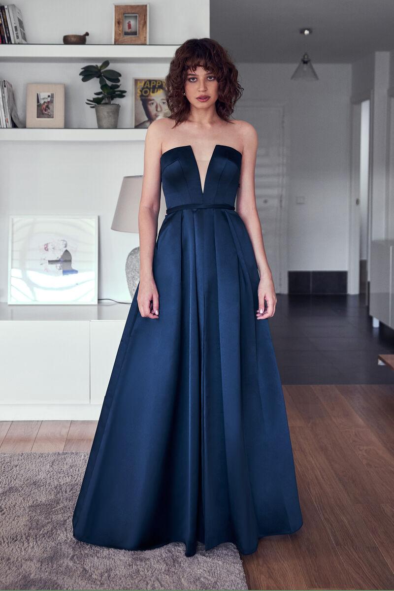 Satin Dress with V-Neck Bodice