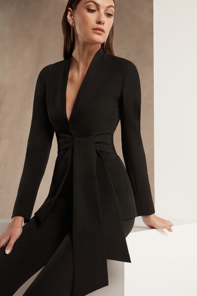 Stretch Crêpe Couture Jacket with Shawl Collar - Party
