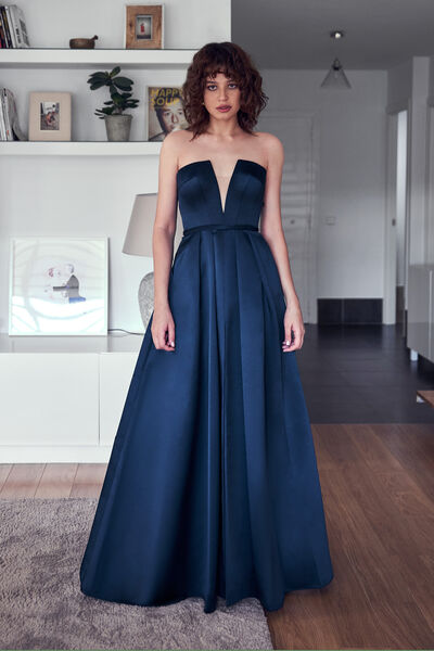 Satin Dress with V-Neck Bodice