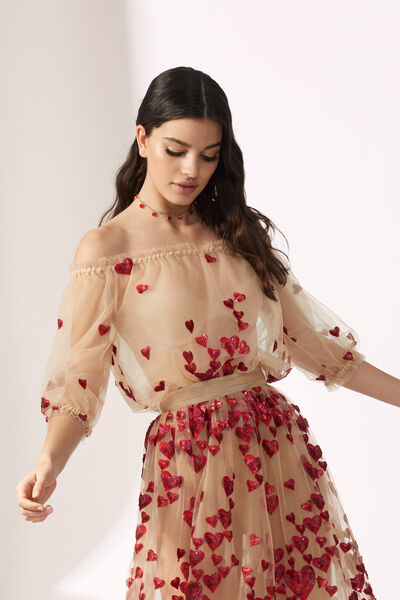 Tulle Body Embroidered with Sequinned Hearts