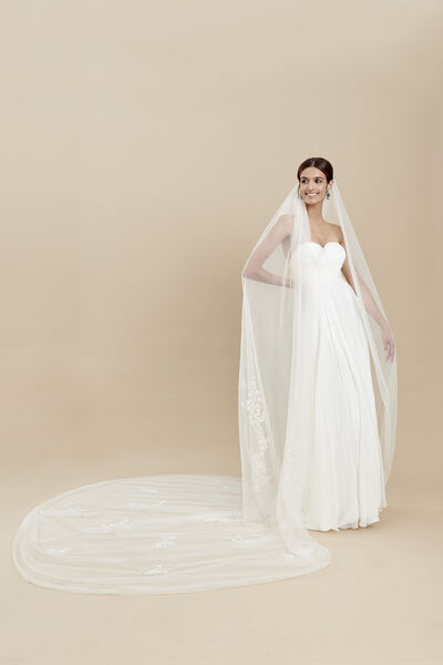 Tulle veil with embroidered tulle motifs
