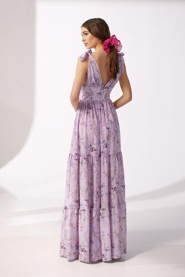 Long Floral Print Silk Crêpe Dress