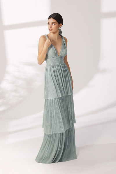 Long Pleated Jersey Dress with Ruffles