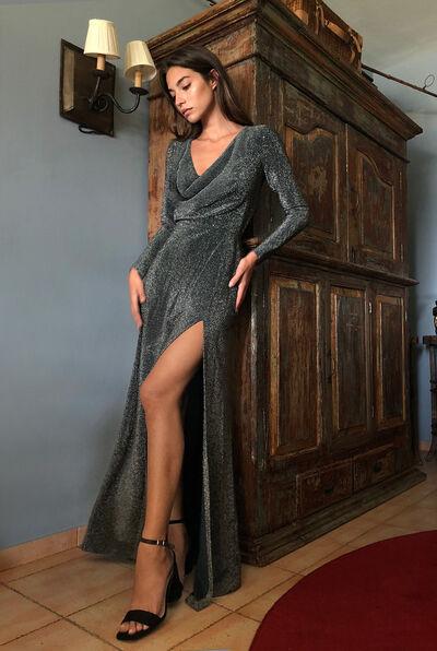 Lamé Jersey Dress with Cowl Neck