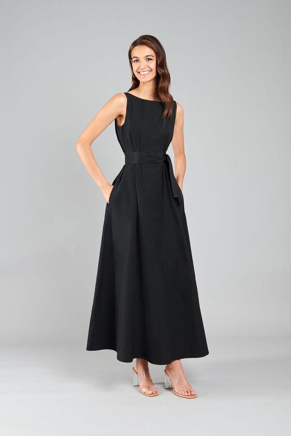 Taffeta Dress with Boat Neckline