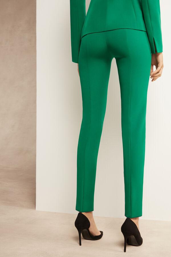 Pantalone a Sigaretta in Crêpe Couture Stretch