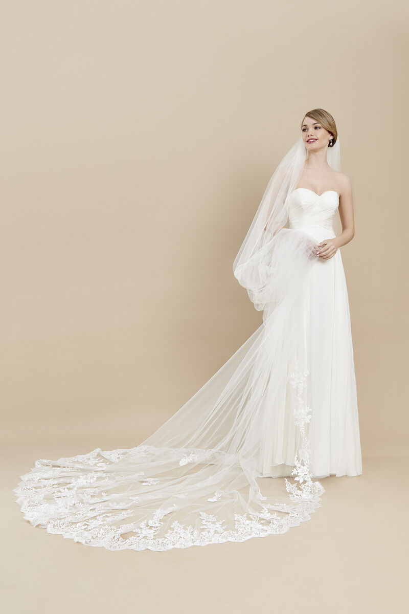 Tulle veil with an embroidered hem and motifs