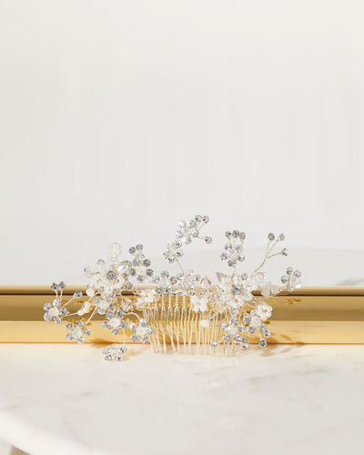 Jewelled Floral Ramage Comb - Bridal