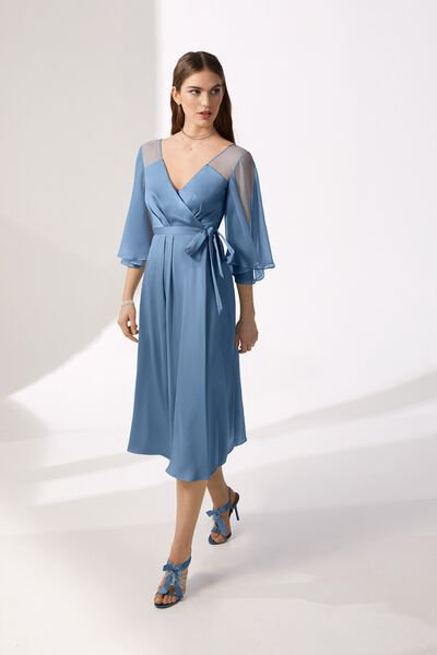 Wraparound Dress in Moroccan Satin and Chiffon
