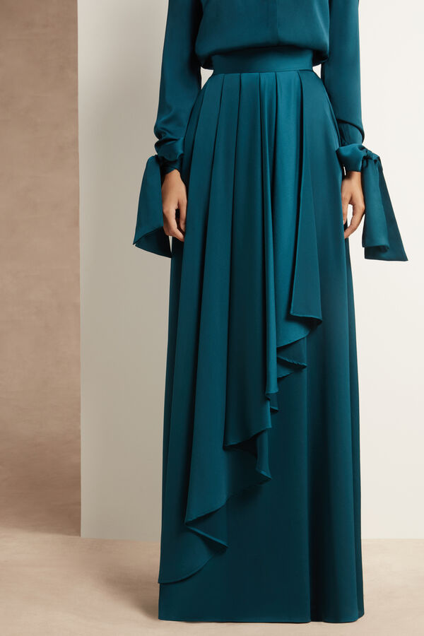 Moroccan Satin Skirt with Pleats