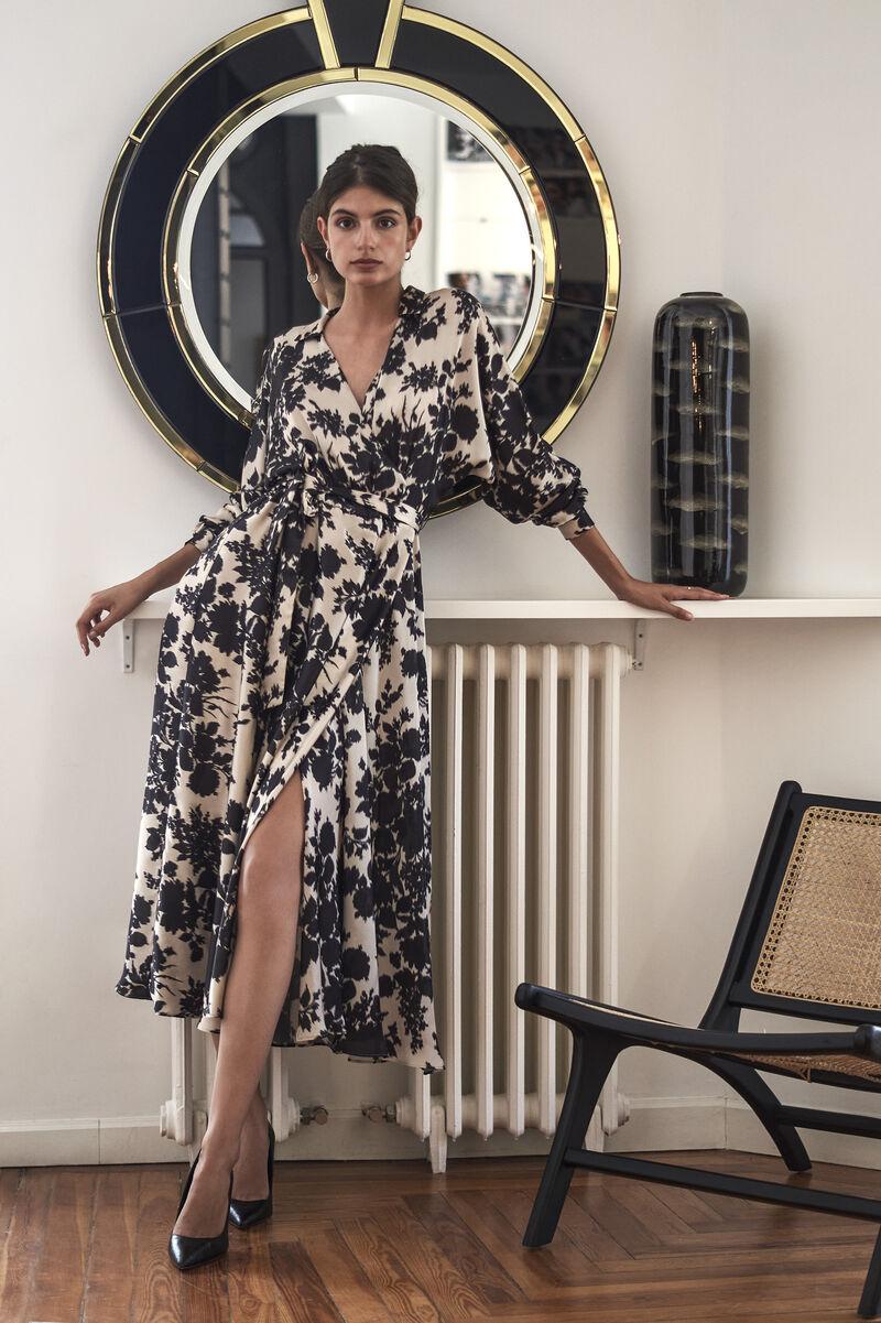 Wrap-Effect Midi Satin Dress