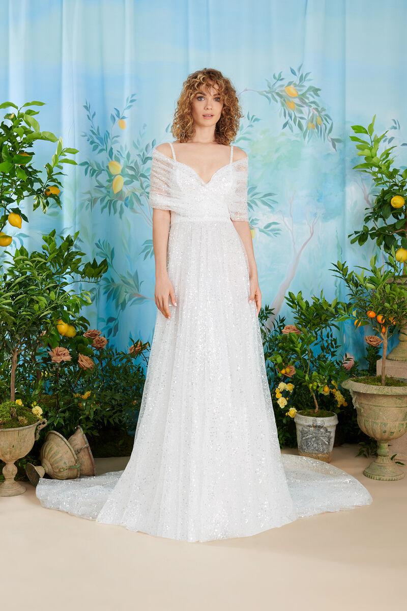 Gathered Tulle Off-the-Shoulder Dress