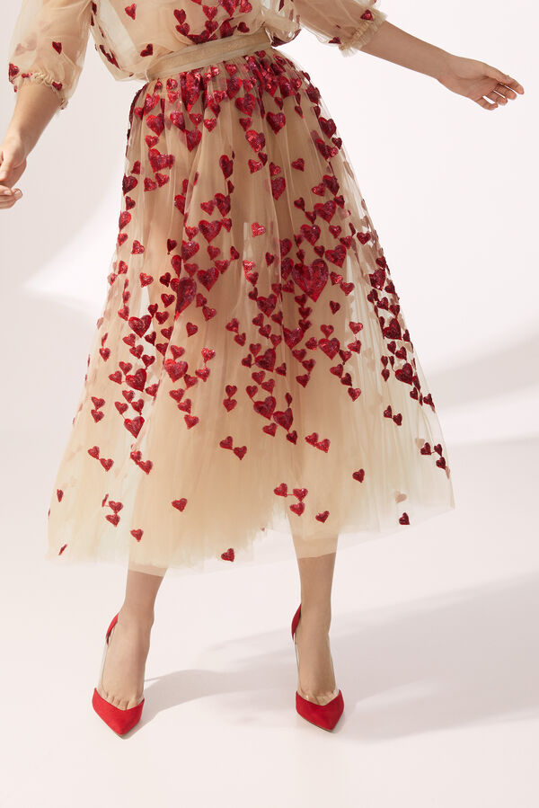 Tulle Midi Skirt Embroidered with Sequinned Hearts