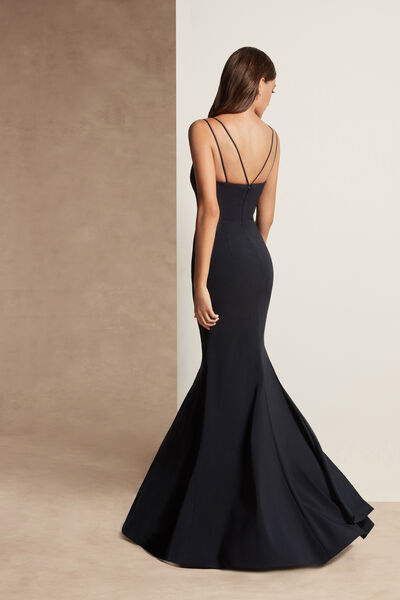 Stretch Crêpe Fishtail Dress with Double Straps - Party