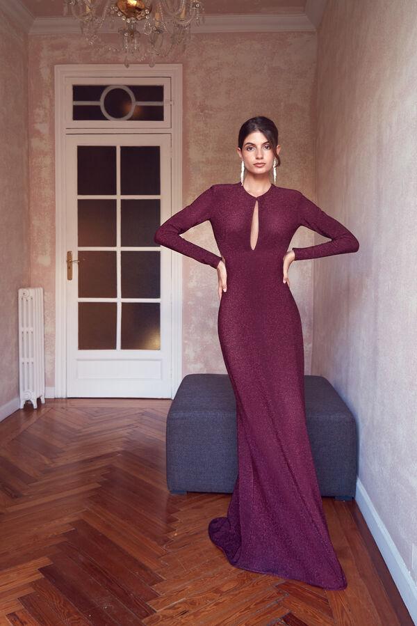 Lamé Jersey Dress with Teardrop