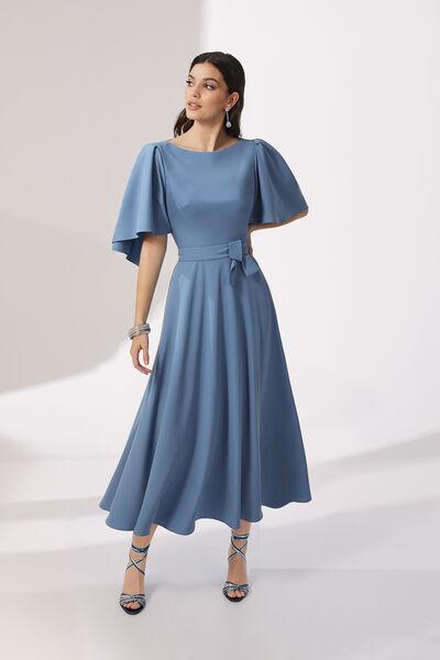 1950s Style Midi Dress in Stretch Cady