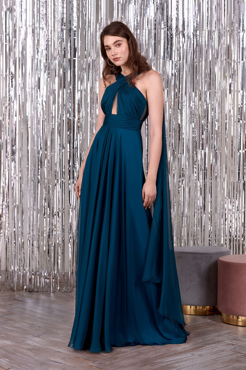 Chiffon Gown Features a Drape