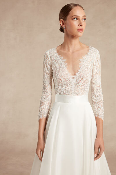 Lace Body with Three-Quarter Length Sleeves - Bridal