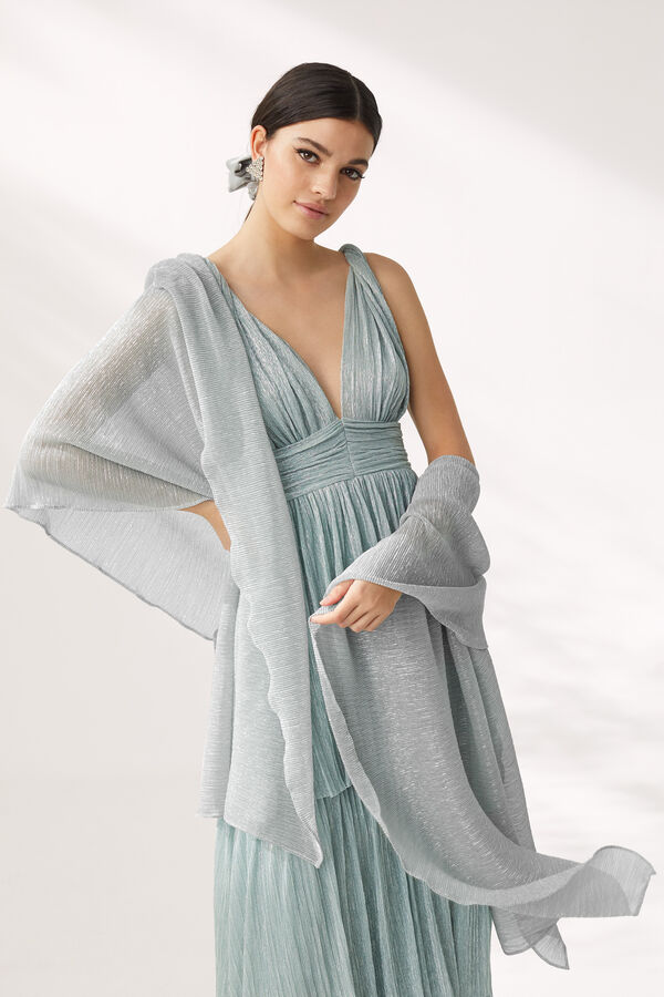 Pleated Lamé Jersey Stole