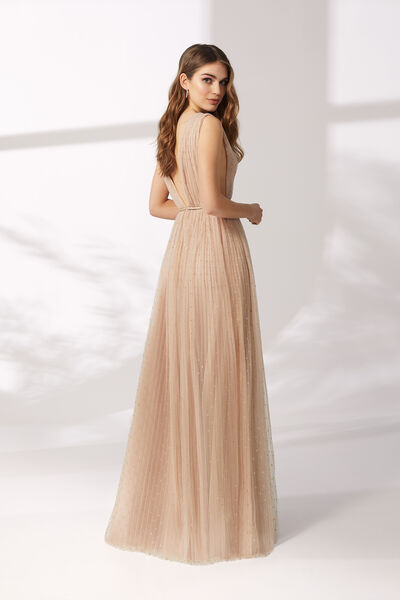Long Sparkling Pleated Tulle Dress - Party