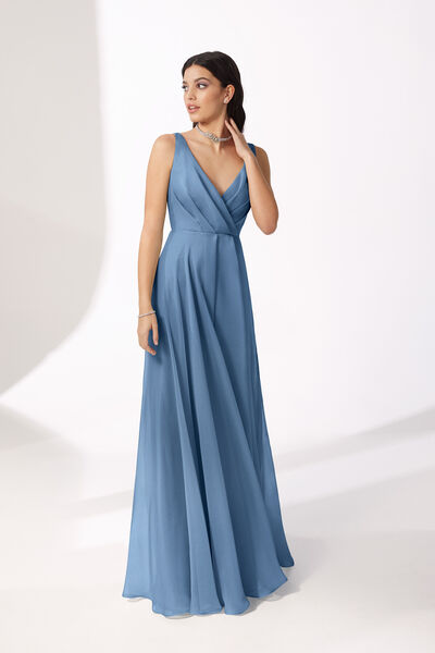 Long V-Neck Chiffon Dress