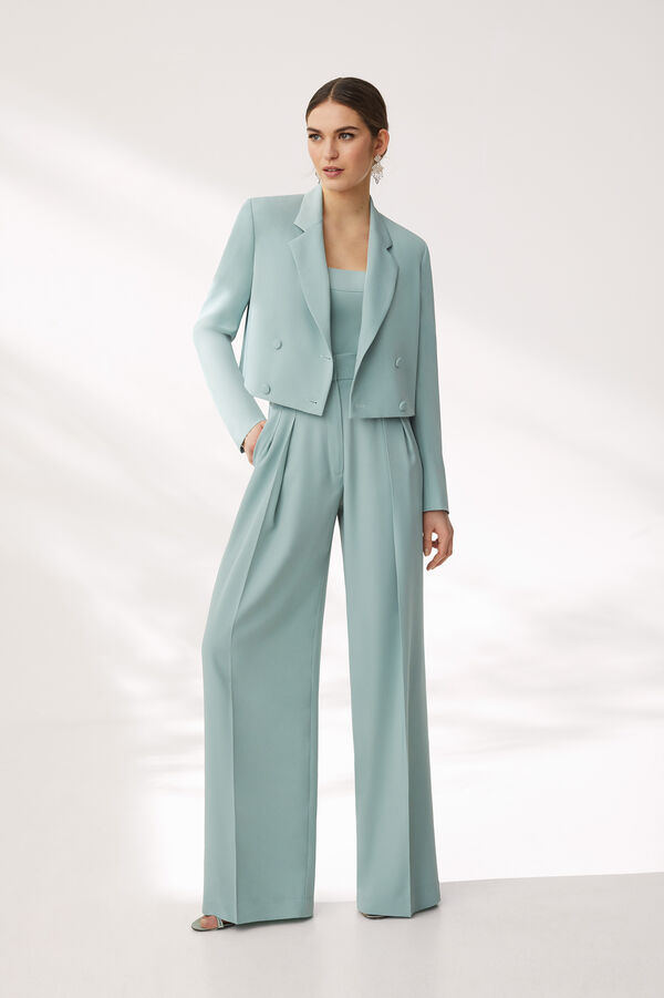 Body and Trouser Suit in Stretch Fluid Cady
