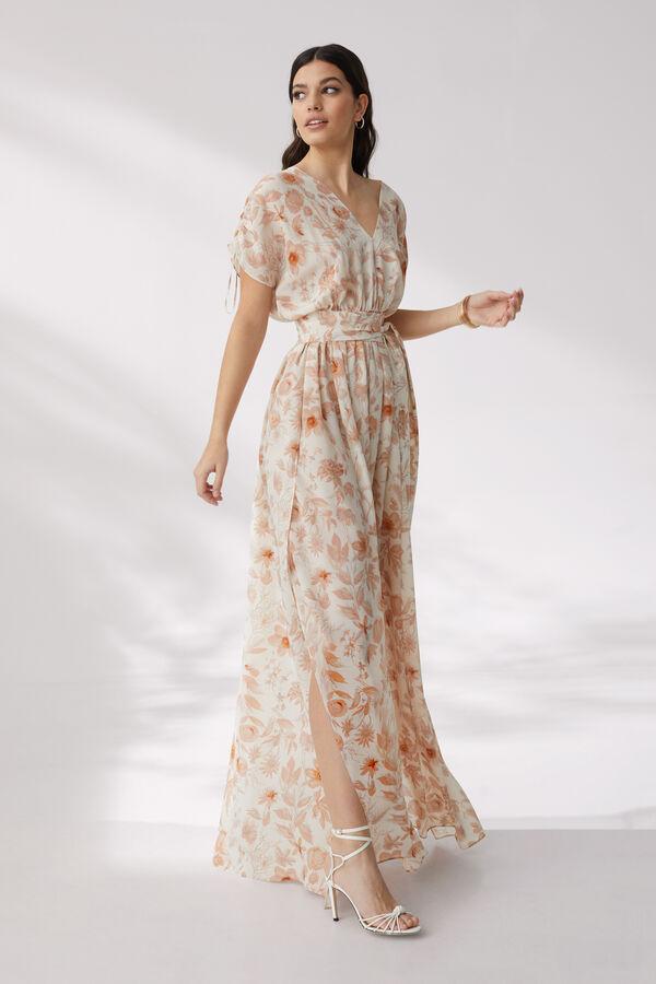 Long Silk Crêpe Dress with Botanical Design