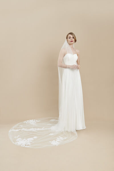 Tulle veil with embroidered motifs