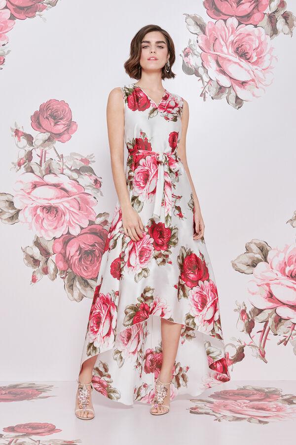 Abito scivolato in Raso Stampa Bouquet Rose