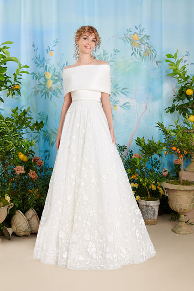 Humeral shrug with important collar in shiny satin - Bridal
