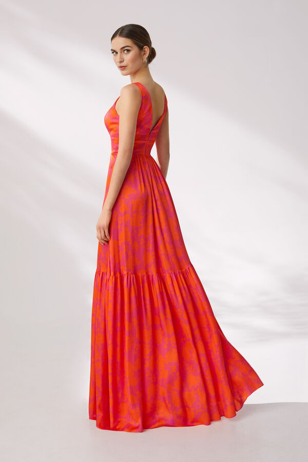Long Printed Viscose Satin Dress