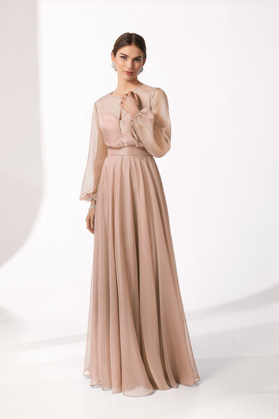 Long Two-Piece Dress in Chiffon and Satin