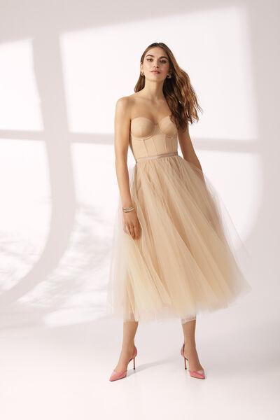 Matte Satin Bustier and Skirt in Tulle