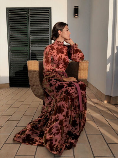 Two-Piece Devoré Velvet Dress with Floral Motif
