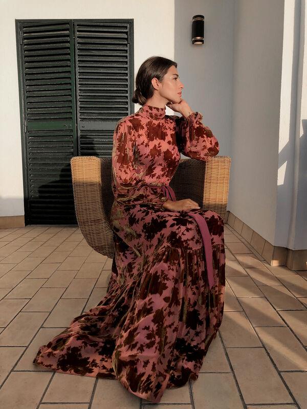 Two-Piece Devoré Velvet Dress with Floral Motif