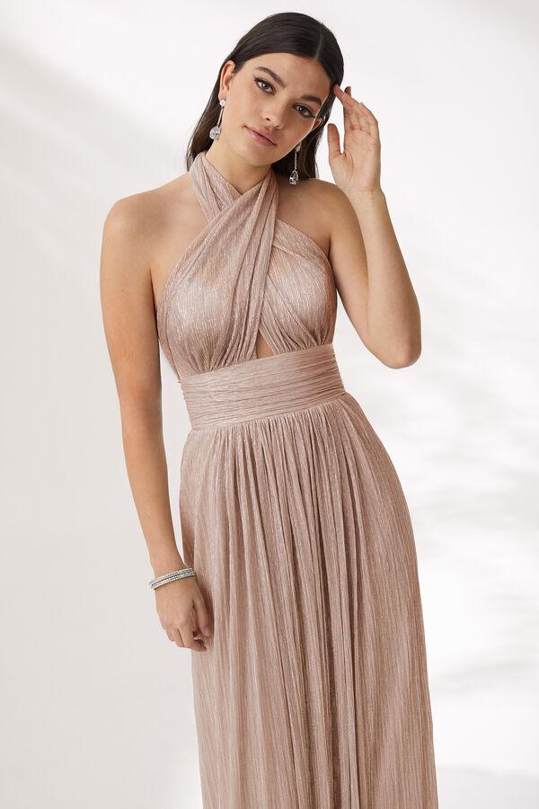 Pleated Lamé Jersey Dress
