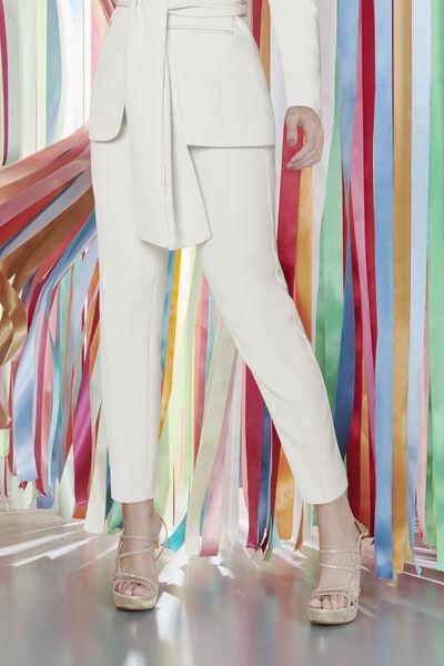 Pantalone a Sigaretta in Crêpe Couture