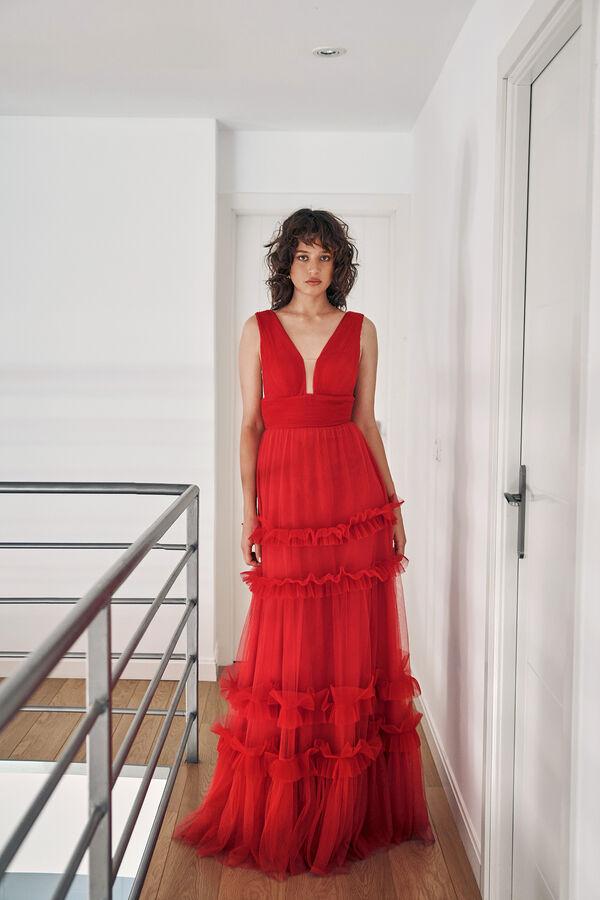 Tulle Dress with Plunging V Neckline