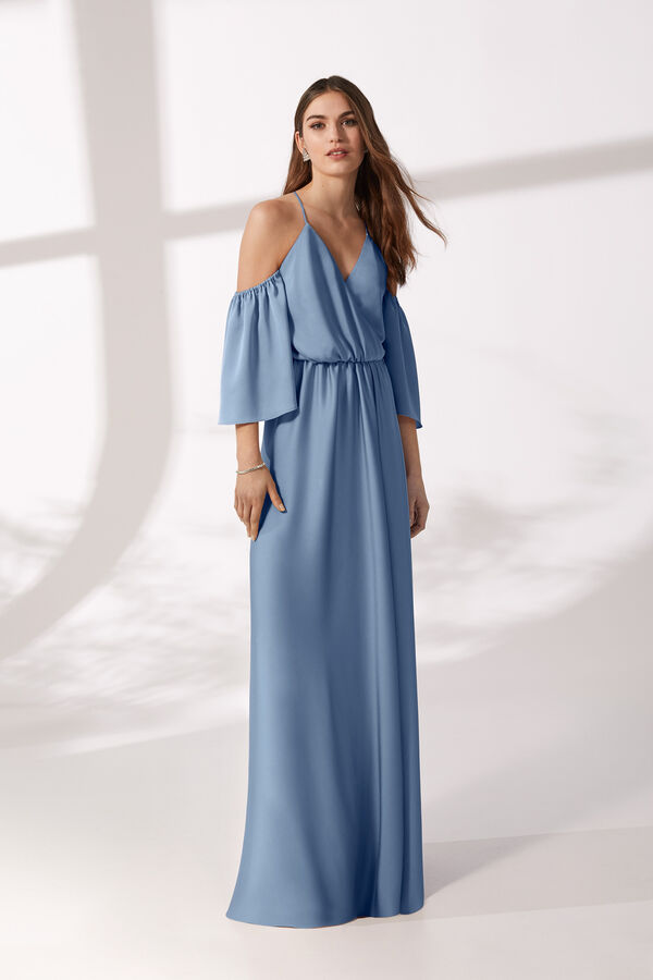 Long Moroccan Satin Dress with Short Gathered Sleeve