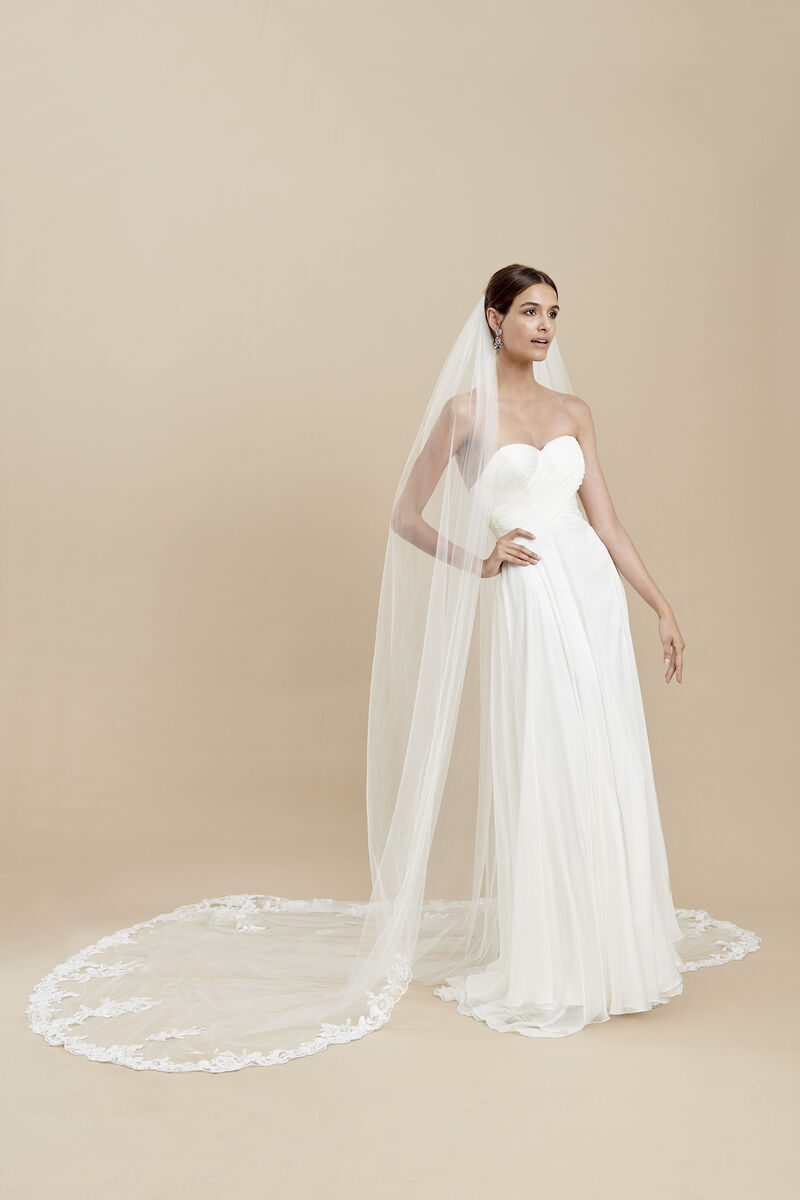 Tulle veil with an embroidered lace edge
