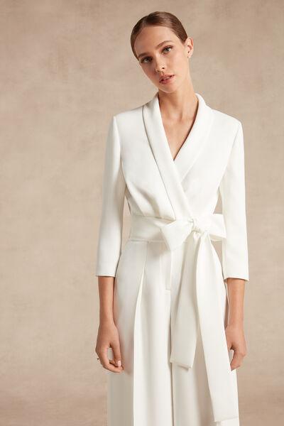 Bolero in crêpe couture con fiocco - Bridal