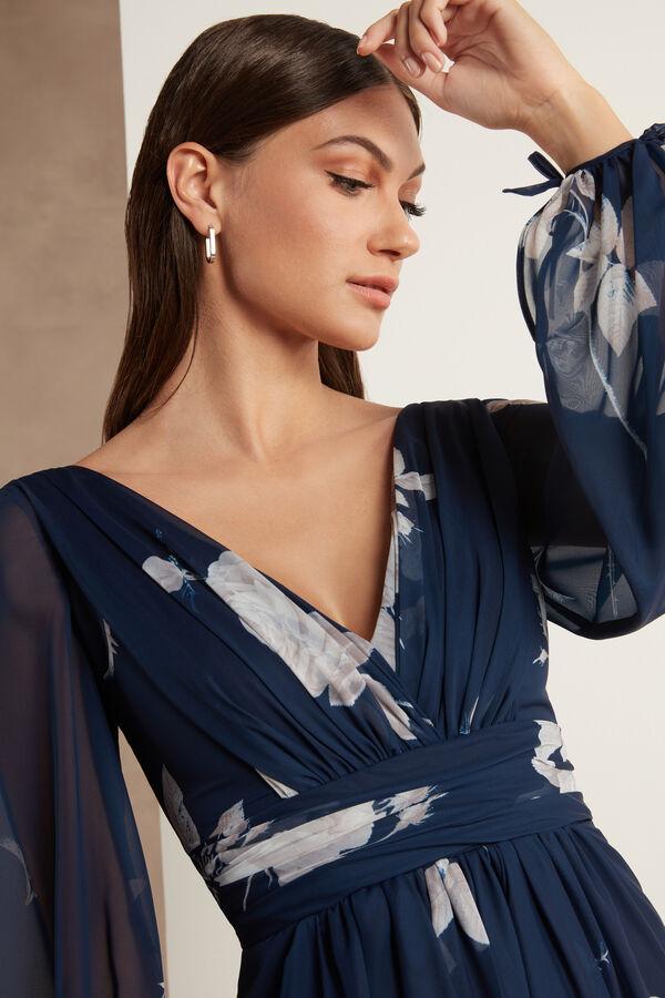 Chiffon Dress with Rose Print