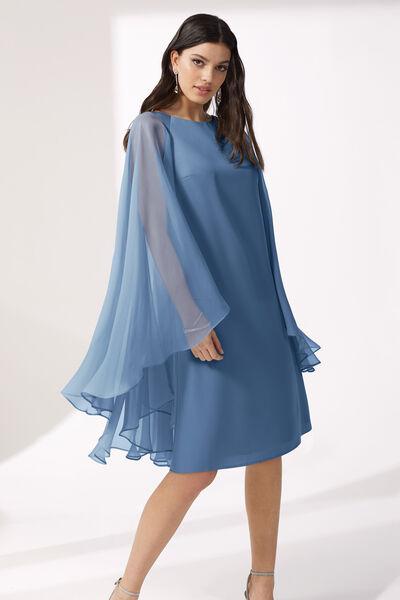 Short Cady and Chiffon Dress