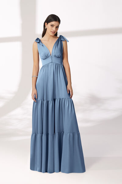 Long Moroccan Satin Dress with Ruffles