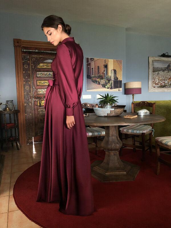 Moroccan Satin Dress with Lapel Neckline