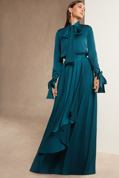 Moroccan Satin Skirt with Pleats - Party