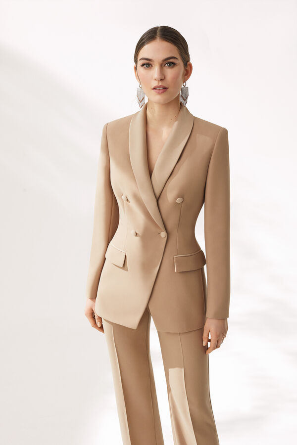 Tailored Double-Breasted Jacket and Envers Satin Crêpe Trousers