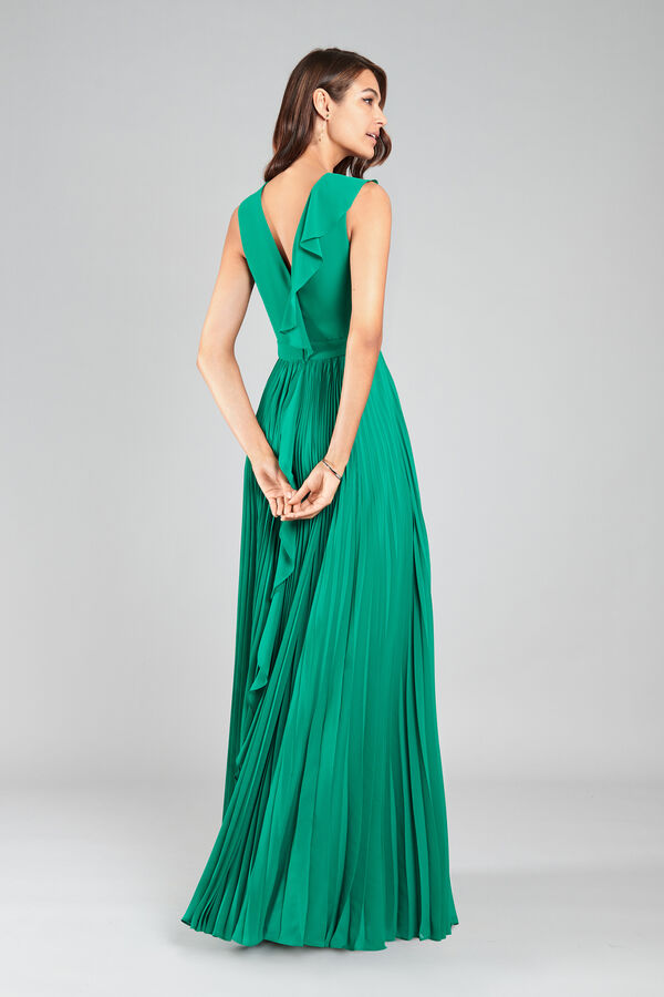 Georgette Dress with Pleated Skirt
