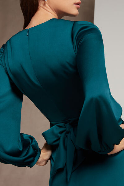 Moroccan Satin Dress with Sleeves - Party