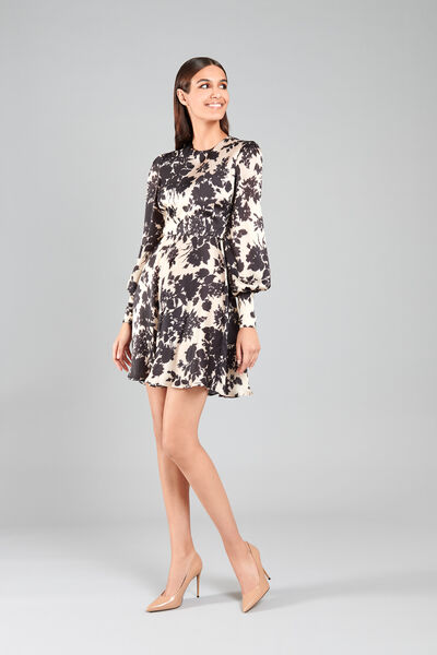 Short Satin Dress with Floral Ikat Print
